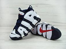 Мужские кроссовки Nike Air More Uptempo Olympic Navy Blue топ реплика, фото 3