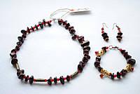 Комплект украшений – бусы, серьги и браслет из натуральной яшмы