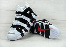 Кроссовки Nike Air More Uptempo белые с черным топ реплика, фото 3