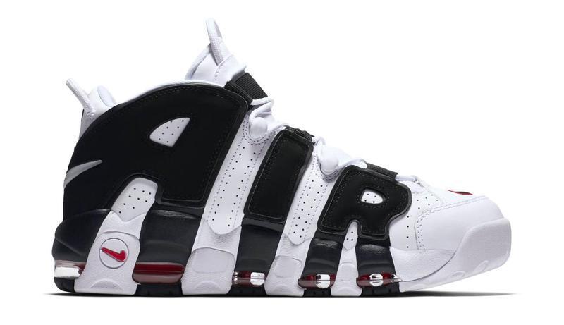 Кроссовки Nike Air More Uptempo белые с черным топ реплика