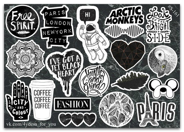 Stickers Pack Black&White #161