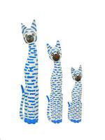 Набор котов голубая полоса  3шт дерево Индонезия