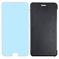 Комплект чехол-книжка Черная + защитное стекло на смартфон Doogee X10