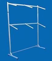 Двухъярусная металлическая односторонняя вешалка-стойка на колёсах с флейтами для одежды