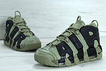 Мужские кроссовки Nike Air More Uptempo Dark Stucco хаки топ реплика, фото 2