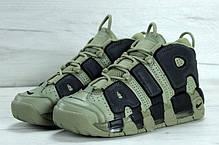 Мужские кроссовки Nike Air More Uptempo Dark Stucco хаки топ реплика, фото 3