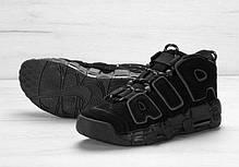 Мужские кроссовки Nike Air More Uptempo черные топ реплика, фото 2