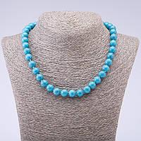 Бусы из камня Бирюза (пресс) голубая с прожилками глянцевый шарик d-10мм L- 45см