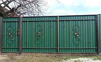 Распашные ворота из профлистила