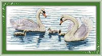 Набор для вышивания крестиком с печатью на ткани Семья Белых лебедей D141/1  канва 11СТ