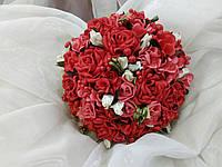 Свадебный букет-дублер красный с коралловым и айвори