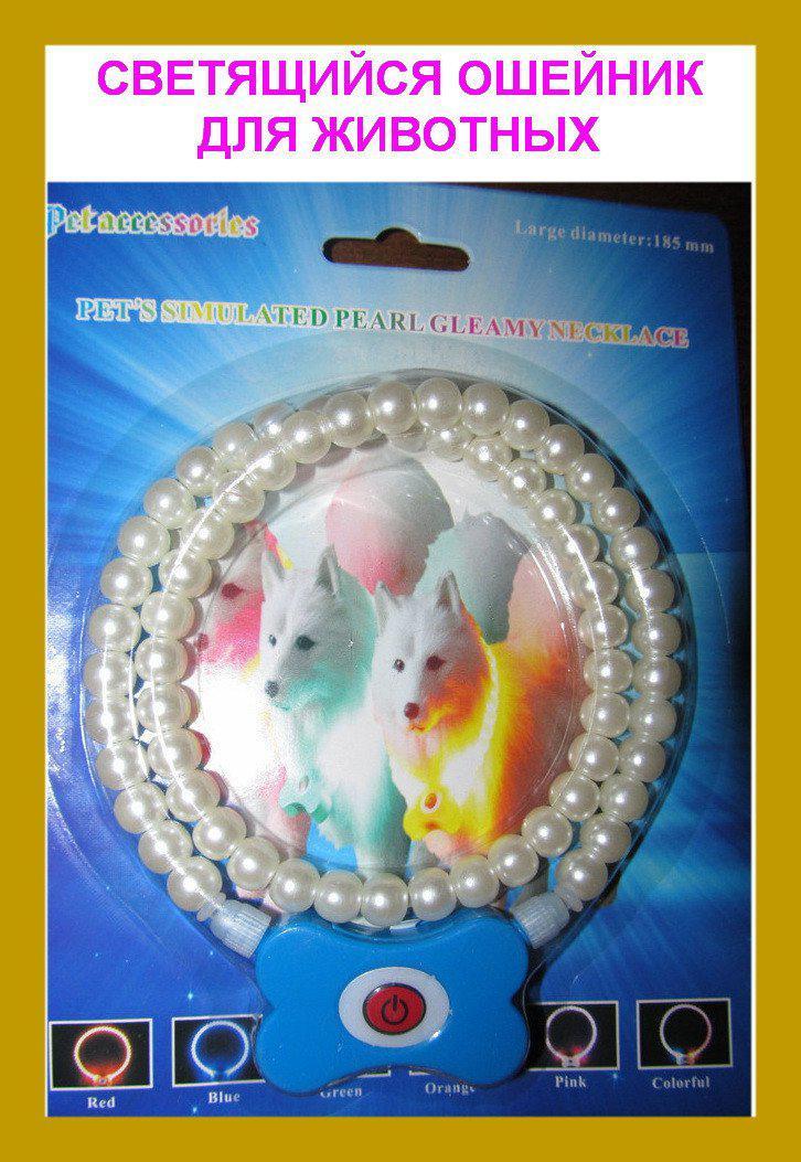 Светящийся ошейник для домашних питомцев Pet's simulated pearl gleamy necklage