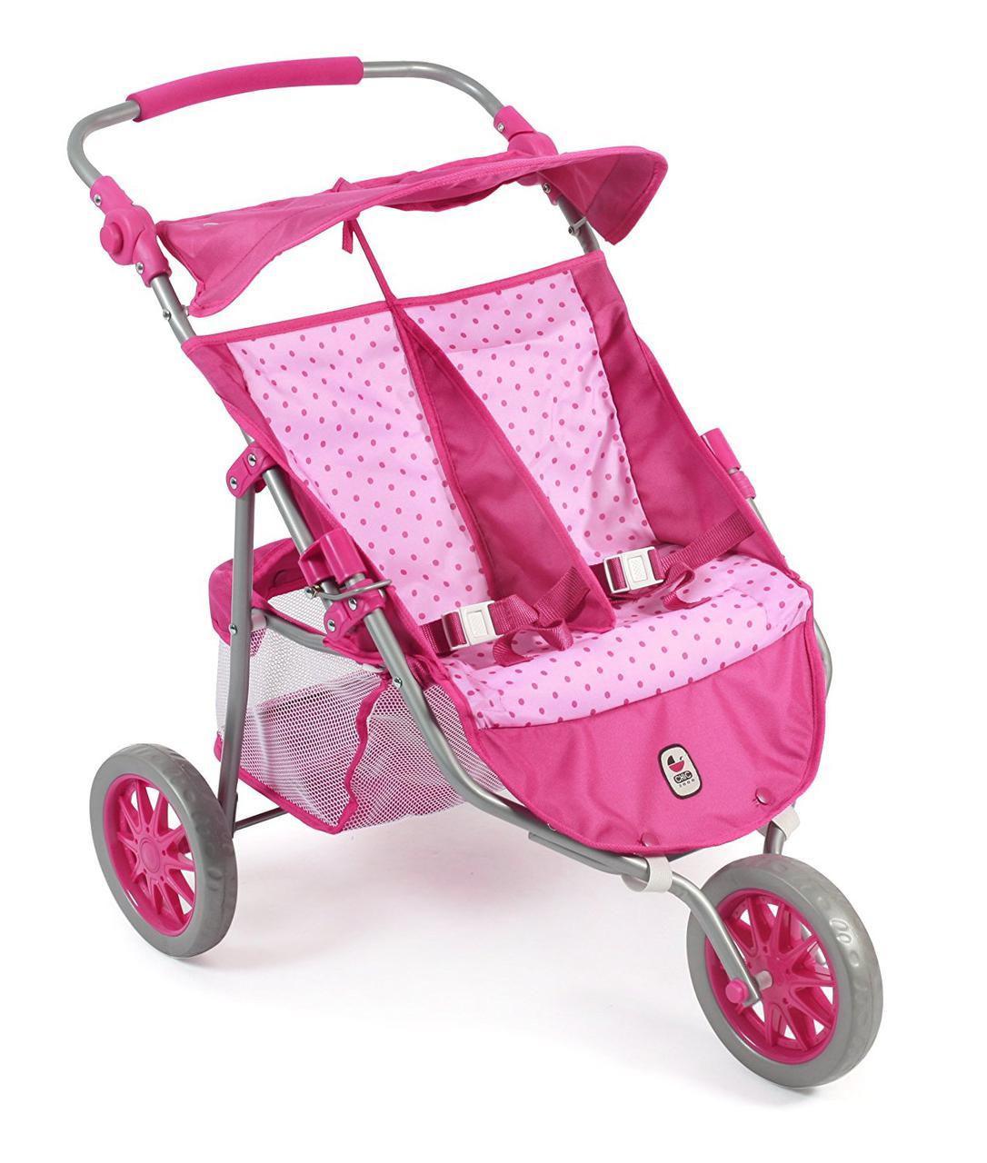 Коляска тандем для кукол для двойни розовый горошек Байер Tandem Bayer Chic 2000 69731