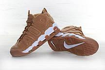 Мужские кроссовки Nike Air More Uptempo песочные с белым топ реплика, фото 2