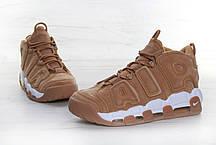 Мужские кроссовки Nike Air More Uptempo песочные с белым топ реплика, фото 3