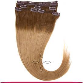 Натуральные Европейские Волосы на Заколках 50 см 115 грамм, Омбре №09-14