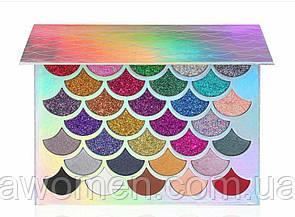 Тени для глаз CLEOF Cosmetics The Mermaid Glitter Palette (32 цвета)