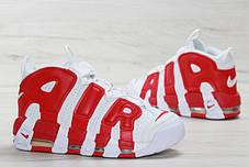 Мужские кроссовки Nike Air More Uptempo белые с красным топ реплика, фото 2