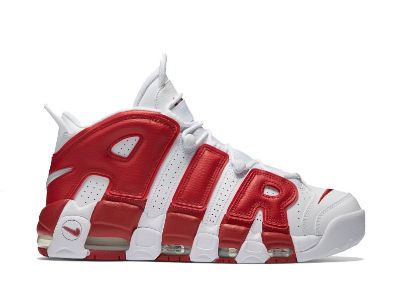 Мужские кроссовки Nike Air More Uptempo белые с красным топ реплика