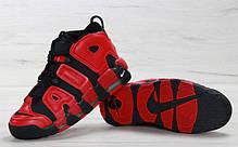 Мужские кроссовки Nike Air More Uptempo Black Red топ реплика, фото 2