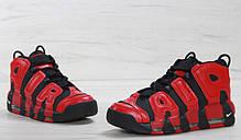 Мужские кроссовки Nike Air More Uptempo Black Red топ реплика, фото 3