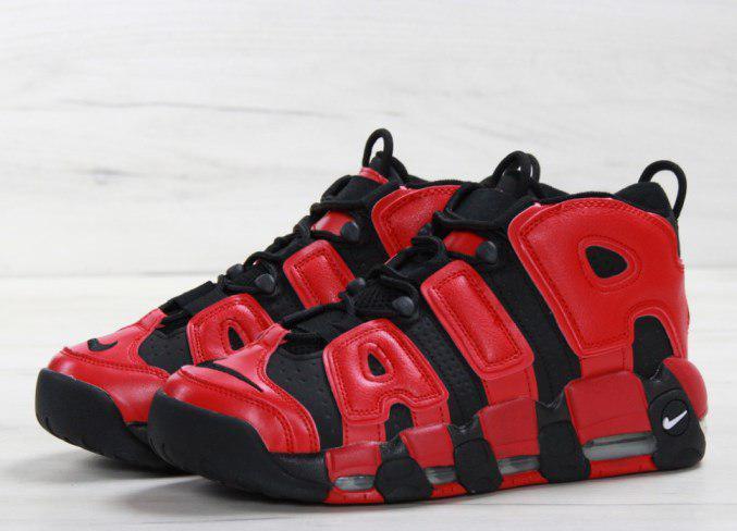 Мужские кроссовки Nike Air More Uptempo Black Red топ реплика