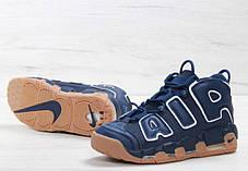 Мужские кроссовки Nike Air More Uptempo синие с бежевым топ реплика, фото 3