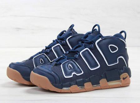 Мужские кроссовки Nike Air More Uptempo синие с бежевым топ реплика, фото 2