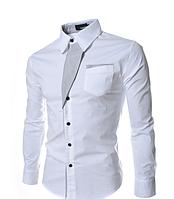 Оригинальная мужская рубашка приталенная M, L, XL, XXL ( белая ) код 2