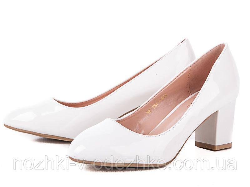 8e9a5fd98e00 Белые лаковые туфли на устойчивом каблуке 36- 40 - Интернет магазин