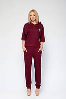Бордовый модный спортивный костюм Марин