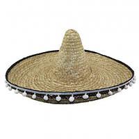 Шляпа Сомбреро Солома 50 см с кисточками