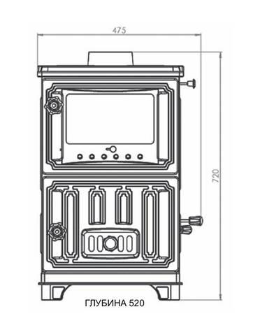 Дровяная печь-камин EM-204F Duval турбо BERKAS, фото 2