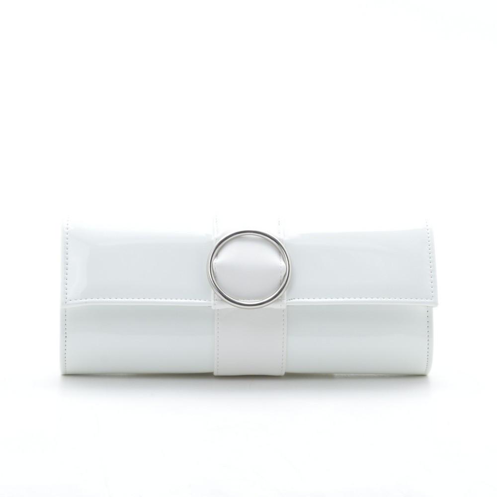 03327928d222 Вечерний лаковый белый клатч Circle - Kit Bag - женские сумки, кошельки и  клатчи в