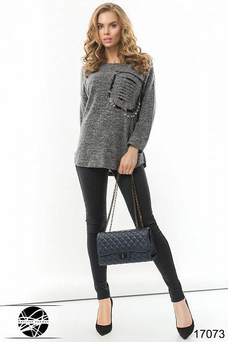 Модный женский джемпер с карманом
