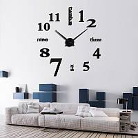 3D-Часы настенные большие с палочками черные 3M 002B