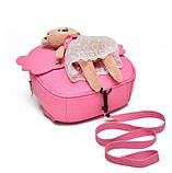 Рюкзак дитячий з іграшкою ведмежам для дівчинки (рожевий), фото 4