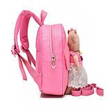 Рюкзак дитячий з іграшкою ведмежам для дівчинки (рожевий), фото 6