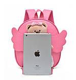 Рюкзак дитячий з іграшкою ведмежам для дівчинки (рожевий), фото 7