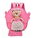 Рюкзак дитячий з іграшкою ведмежам для дівчинки (рожевий), фото 2