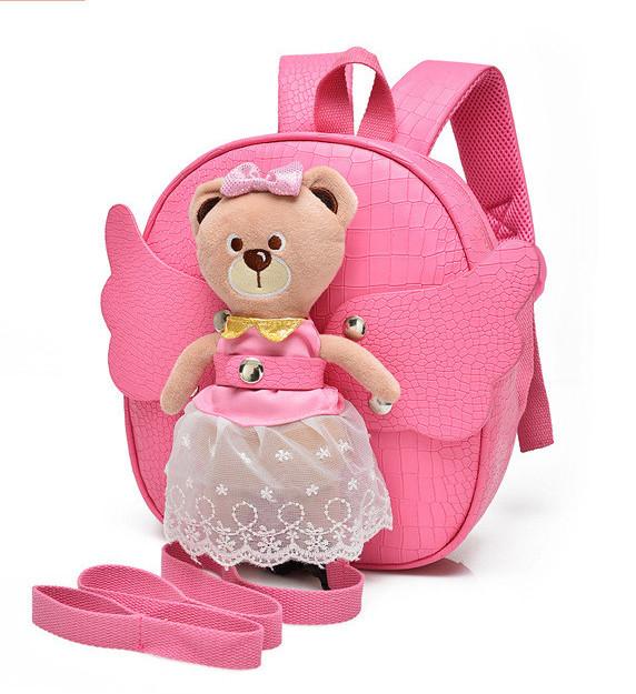 Рюкзак дитячий з іграшкою ведмежам для дівчинки (рожевий)