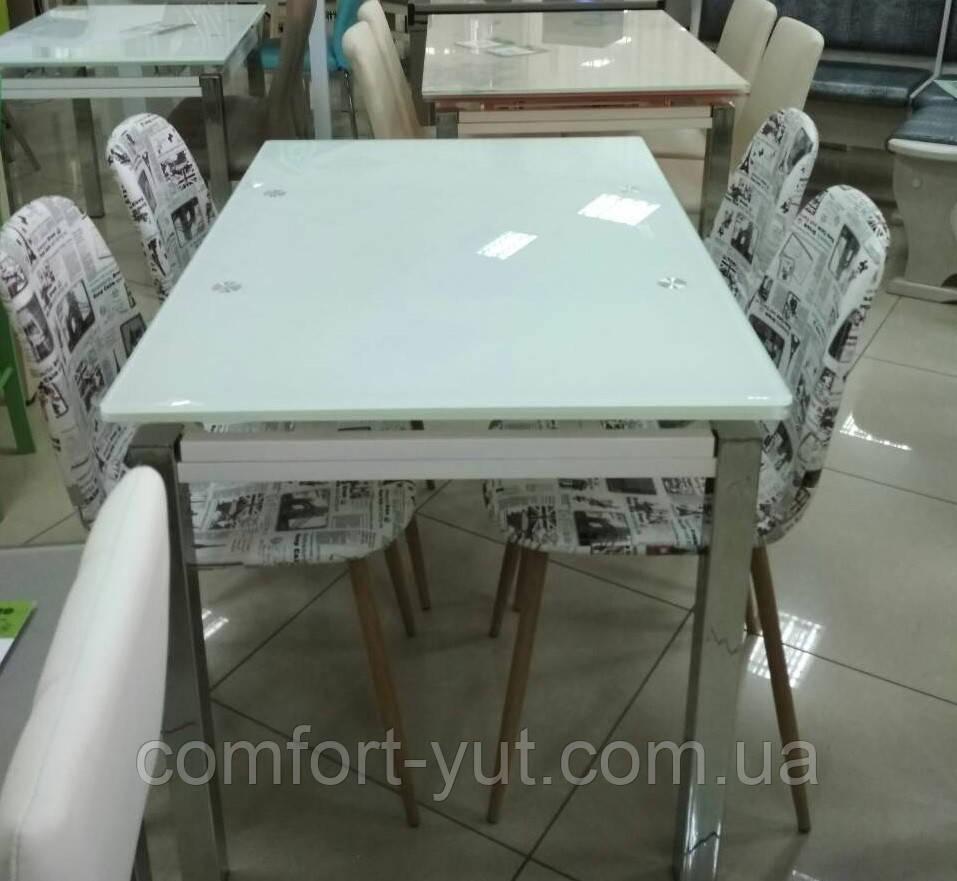 Стол стеклянный раскладной обеденный ТВ17 ультрабелый 110\170*75*75