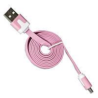 Кабель Lesko microUSB/USB 1m Розовый USB лапша для смартфона планшета и навигатора