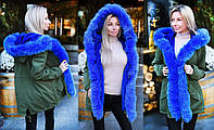 """Женская зимняя куртка-парка до больших размеров 9134 """"Парка Натуралный Мех Хвост"""" в расцветках"""