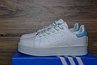 Женские кроссовки Adidas Stan Smith белые с голубым