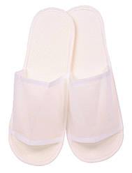 Тапочки одноразовые флизелиновые открытые с антискользящей подошвой (цвет белый) Ф01