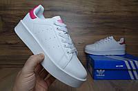 Женские кроссовки Adidas Stan Smith белые с красным Топ Реплика Хорошего качества