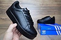 Женские кроссовки Adidas Stan Smith черные Топ Реплика Хорошего качества