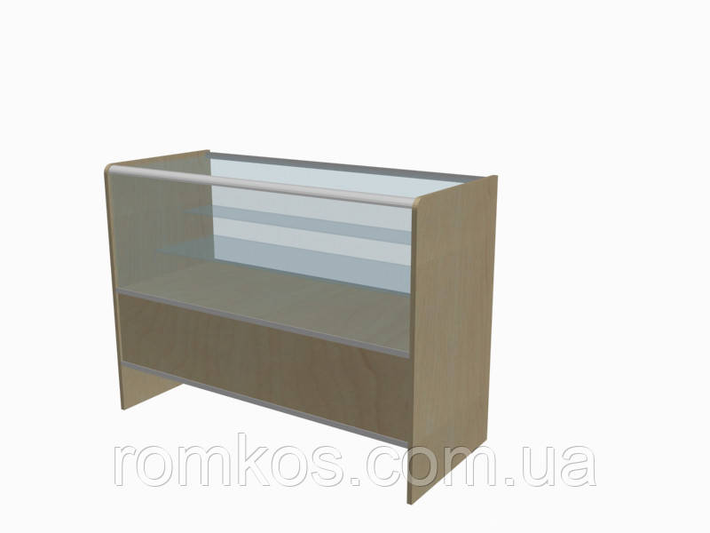 Застекленная витрина-прилавок с алюминиевым профилем и стеклянной полкой (серия Сombi)