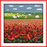 Маки и овцы Набор для вышивания крестиком с печатью на ткани канва 11СТ